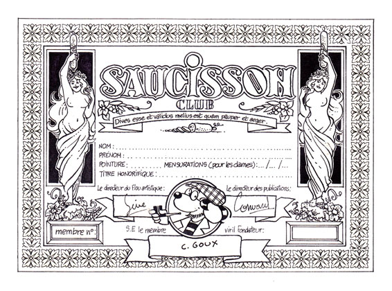 Christian Goux BD, illustrations, carte du Saucisson club