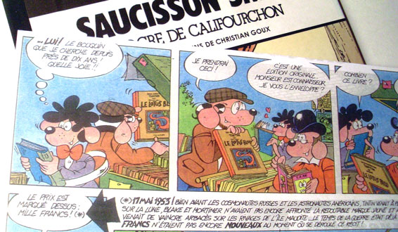 Christian Goux BD, illustrations, hommage à Hergé, Saucisson Smith, L'ogre de califourchon